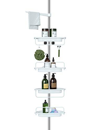 ALLZONE Constant Tension Corner Shower Caddy, Stainless Steel Pole
