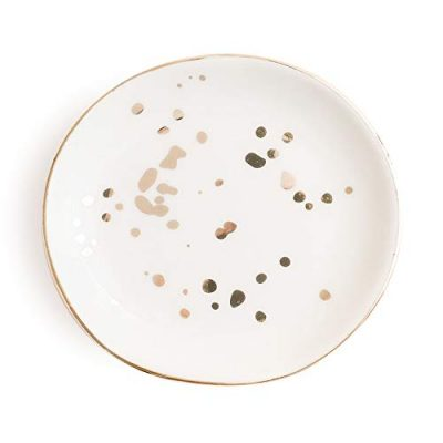 White Gold Speckled Jewelry Dish | Ceramic Circle