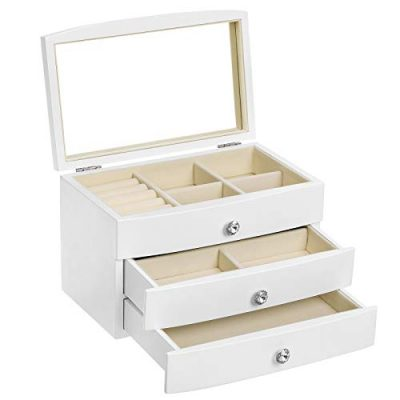 3-Tier Wooden Jewelry Case Jewelry Organizer with Large Mirror