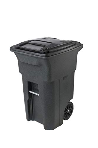 2-Wheeled Trash Can with Attached Lid