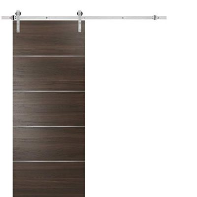 Barn Sliding Brown Door 42 x 84 with Stainless Steel Hardware