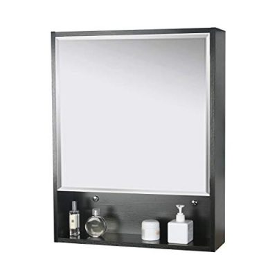 Storage Cabinet with Mirror Adjustable Wall Mounted Cabinet Black