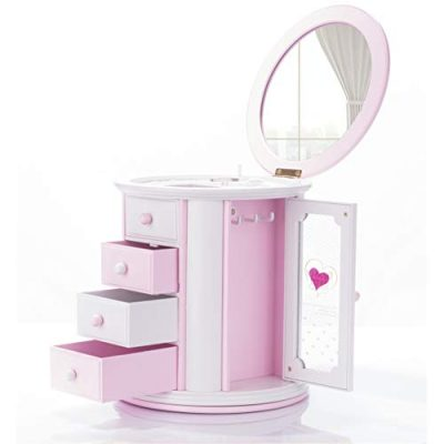 Pink Musical Mirror Jewelry Box Storage Case