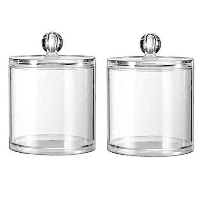 2 Pieces 10 Oz Plastic Cotton Swab Ball Pad Holder Clear Plastic Acrylic Jar
