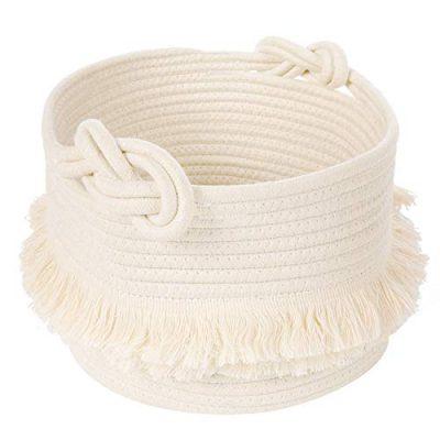 CherryNow Small Woven Storage Baskets Cotton Rope Decorative Hamper