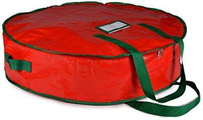 Christmas Wreath Storage Bag Durable Tarp Material, Zippered