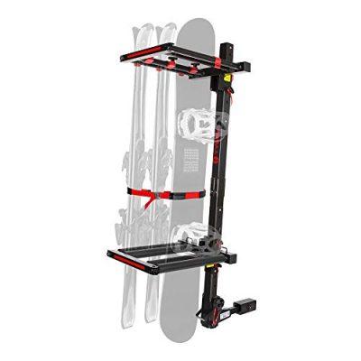 Auto Folding Hitch-Mounted Ski/Snowboard Rack