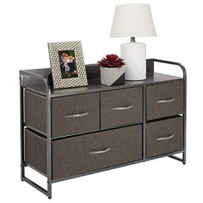 Dresser Storage Chest, Sturdy Steel Frame, Wood Top & Handles