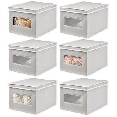 mDesign Soft Stackable Fabric Closet Storage Organizer