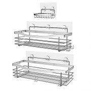 Orimade Shower Caddy Basket Soap Dish Holder Shelf with 5 Hooks