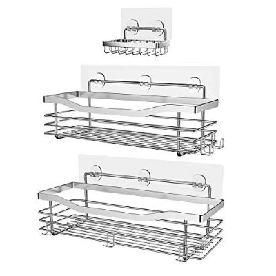 Orimade Shower Caddy Basket Soap Dish Holder Shelf with 5 Hooks