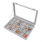 STYLIFING Clear Lid Velvet 24 Grid Jewelry Tray
