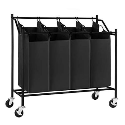 SONGMICS Cart Sorter Rolling Laundry Basket Hamper