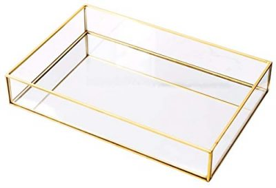 Rectangle Vintage Glass Tray Countertop Holder Dresser Organizer