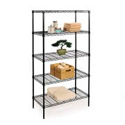 5-Tier Black Epoxy Steel Wire Shelving