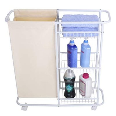 White Rolling Laundry Storage Cart with Heavy-Duty wheels