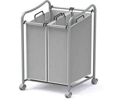 2-Bag Heavy Duty Rolling Laundry Sorter Cart