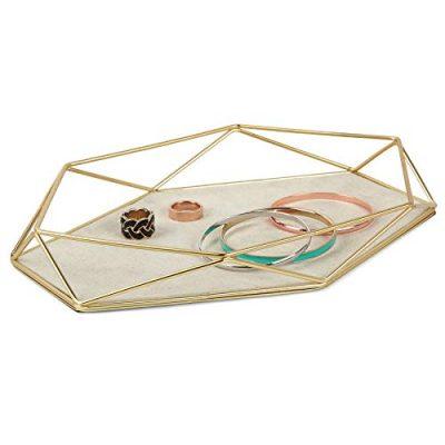 Umbra Prisma Tray, Geometric Plated Jewelry Storage