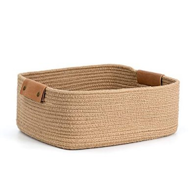 CHICVITA Rectangle Jute Rope Woven Basket with Handles for Books