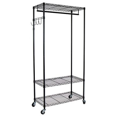 Oceanstar Adjustable Shelves with Hooks Garment Rack