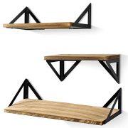 BAYKA Floating Shelves Wall Mounted, Rustic Wood Wall Shelves Set