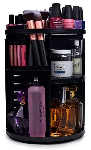 360 Rotating Makeup Organizer - Adjustable Shelf Height and Fully Rotatable.