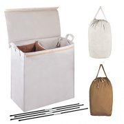 MCleanPin Double Laundry Hamper with Lid and Removable Liners