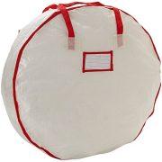 Heavy Duty Christmas Wreath Storage Bag with Red Trim