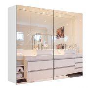 Homfa Bathroom Mirror Cabinet, 27.6 X 23.6 Inch Wall Mounted