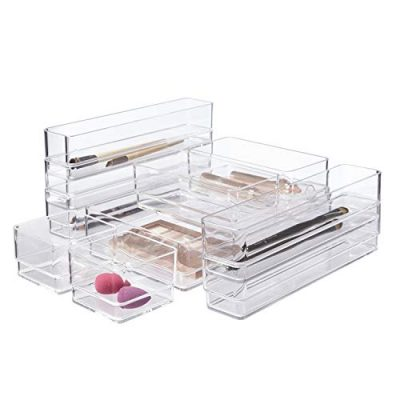 STORi Clear Plastic Makeup & Vanity Drawer Organizers