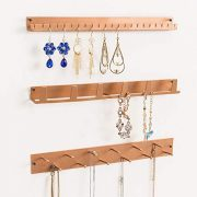 MyGift Wall Mounted Rose Gold Metal Jewelry Organizer Racks