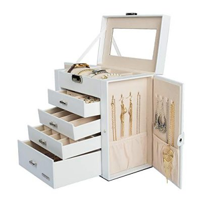 Huge Jewelry Box Mirrored Watch Organizer Necklace Ring