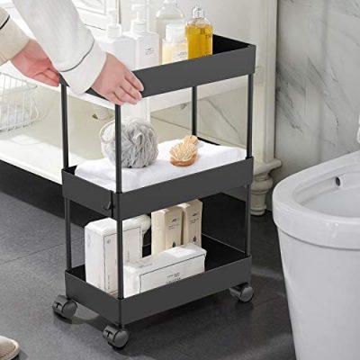 AOJIA Slim Storage Cart, 3 Tier Bathroom Organizers Slide Out Storage