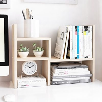 Organizer Office Storage Rack Adjustable Wood Display Shelf