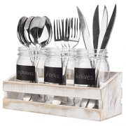 Whitewashed Wood Utensil Holder Organizer Tray