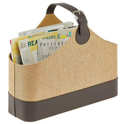 mDesign Rectangle Basket Tote Bin Organizer with Attached Handle for Blankets