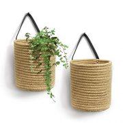 "Goodpick 2pack Jute Hanging Basket - 7.87"" x 7"" Small Woven Fern"