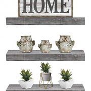Sorbus Floating Shelf Set — Rustic Wood Hanging Rectangle Wall Shelves