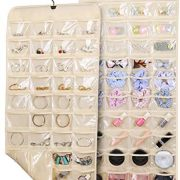 Double Sided Hanging Jewelry Organizer 80 Pockets