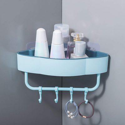 Corner Shower Caddy Adhesive Plastic Shower Shelf with Hooks