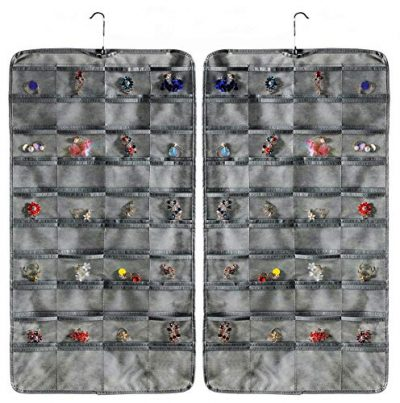 AARainbow Dual-Sided Non-Woven Hanging Jewelry Organizer with Transparent PVC windows, 80 Pockets Organizer for Holding Jewelries (Gray)