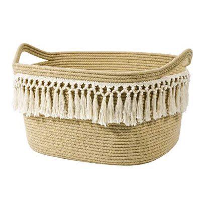 Rectangle Woven Basket Tassel Cotton Rope Storage Basket