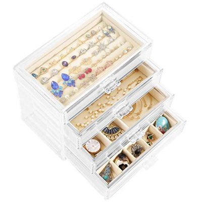 Acrylic Jewelry Box with 4 Drawers