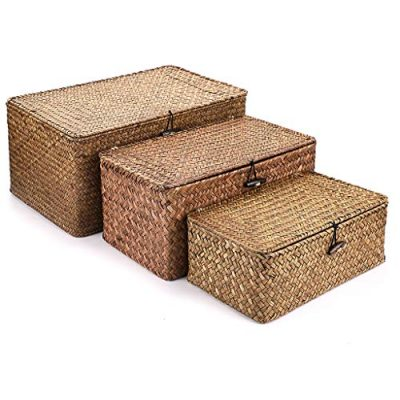 Hipiwe Set of 3 Natural Seagrass Storage Baskets with Lid
