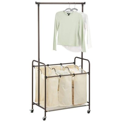 Laundry Sorter with Wheels and Attached Steel Hanging Bar