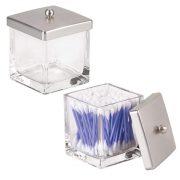 mDesign Modern Glass Square Bathroom Vanity Countertop Storage Organizer