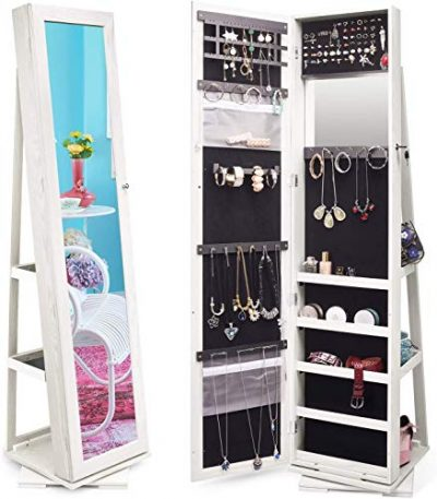 Jewelry Organizer Jewelry Cabinet 360 Rotating Full Length Mirror