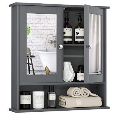 Tangkula Bathroom Cabinet Wall Mounted with Double Mirror Doors