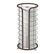 mDesign Decorative Metal Free Standing Toilet Paper Holder Stand