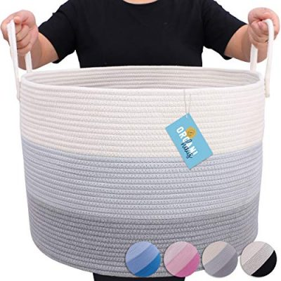 Blanket Storage Basket with Long Handles Extra Large Baskets